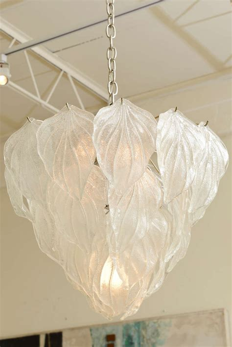 Leaf Chandelier Italian Murano Glass Leaf Chandelier At 1stdibs
