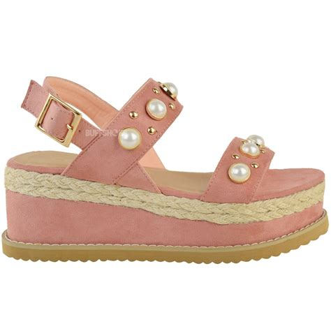 summer wedge sandals womens espadrille flatforms pearl wedge summer