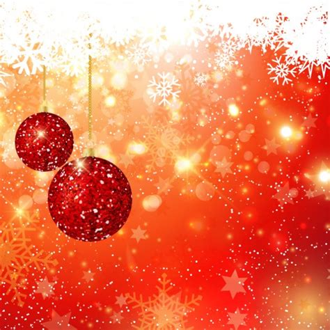 glitter christmas balls on bokeh background vector free