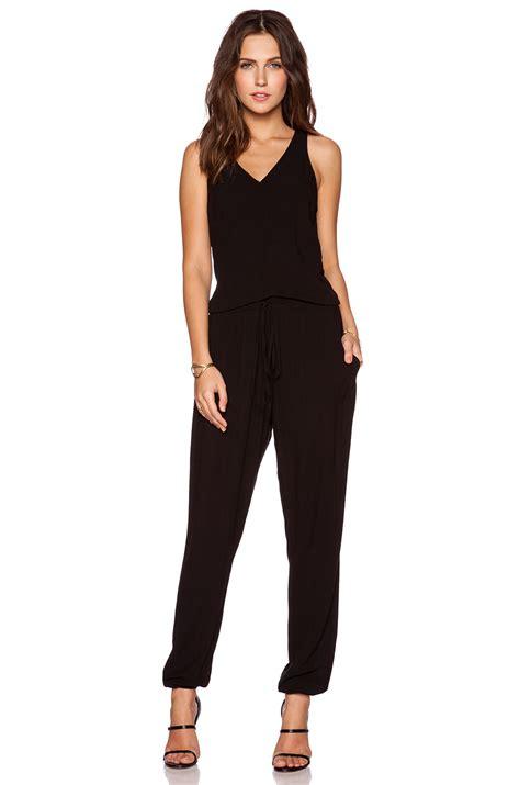 Jumpsuit V Nect lyst luxx v neck sleeveless jumpsuit in black