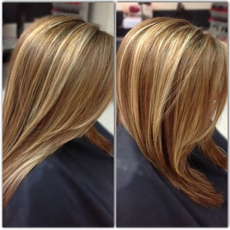 medium golden mahogany brown lowlights medium honey brown base with beige blonde highlights done
