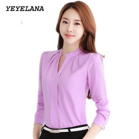 Blouse Pink Lyne Halim No 42 yeyelana 2017 formal office chiffon blouse sleeve v neck shirt white pink purple