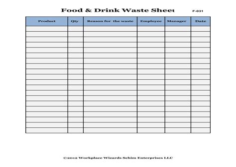 food waste log template 28 images of restaurant food waste log sheet template