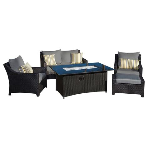 Rst brands deco 5 piece love and club patio fire pit seating set with charcoal grey cushions op
