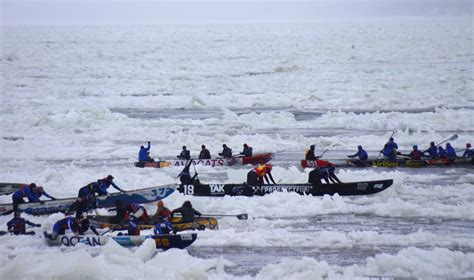 canoes he was ice he embracing winter at carnaval de quebec
