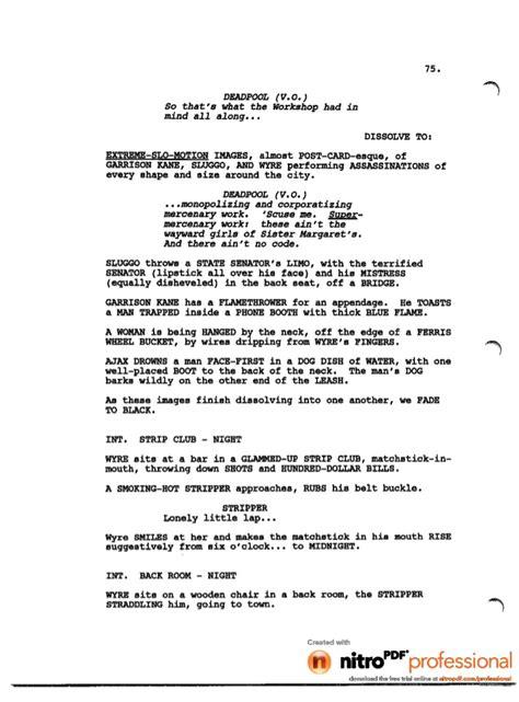 fallen soldier table script deadpool leaked script 1