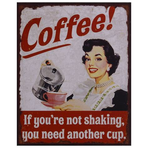 Kitchen tin sign coffee cup decoration 50s style nostalgic retro housewife