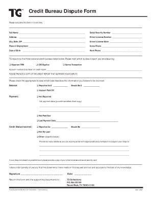 Credit Dispute Form sle credit report forms and templates fillable printable sles for pdf word pdffiller