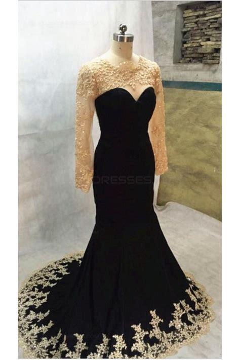 Mermaid Gown black mermaid gold lace appliques sleeves prom