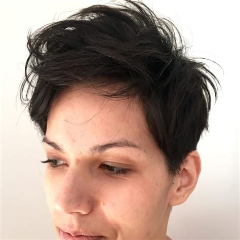 short hairstyles with fringe sideburns short hairstyles women s brunette textured pixie with fringe bangs and