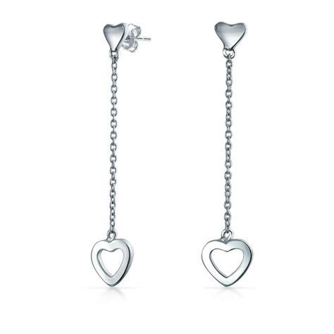 minimalist open hearts chain long linear dangle earrings  women  girlfriend teen