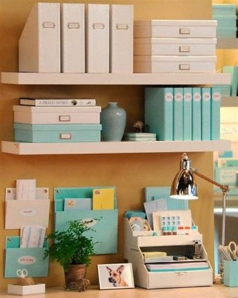 organize home office desk picture of wall shelves to declutter the desk