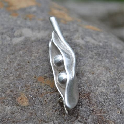Handmade Silver Brooches - handmade silver two peas in a pod brooch by muriel