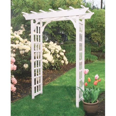 White Wooden Trellis Cascadia Painted Wood Arbor Free Shipping