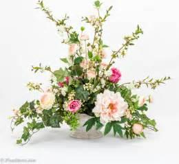 Artificial Floral Arrangements Pink Rose Silk Floral Arrangement With Blossom Branch