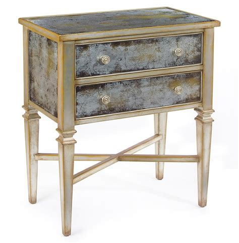 Glass Nightstand Arezzo Regency Antique Chagne Silver Painted
