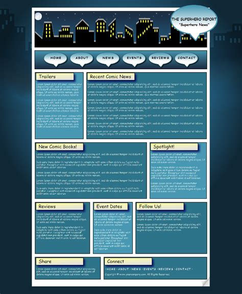 blogger templates for web comics comic book website template 1 by kimlita on deviantart