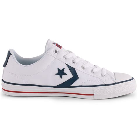 converse 10 player ox unisex canvas trainers white navy new shoes all sizes