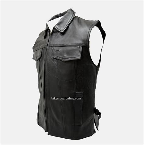 motorcycle gear online club leather vest with fold collar hidden snaps bikers