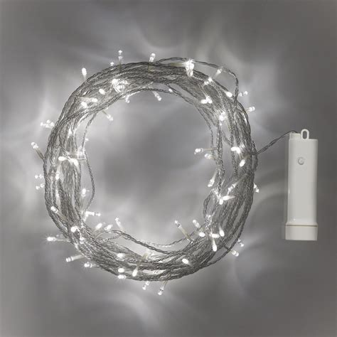 96 white led outdoor battery fairy lights on clear with