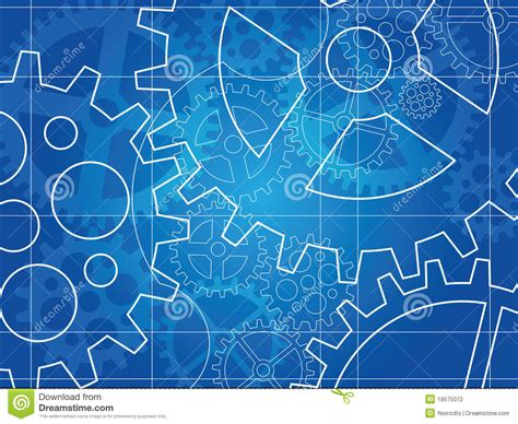 blueprint designer gear blueprint abstract design stock vector illustration