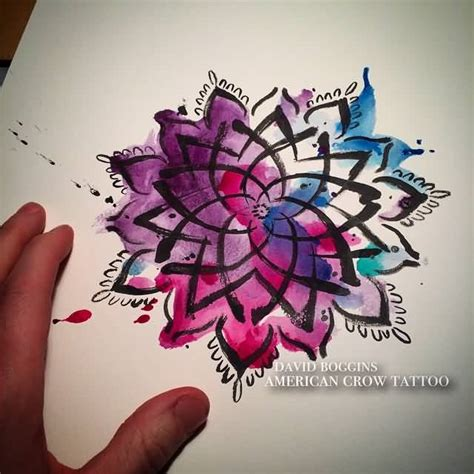 watercolor tattoos mandala watercolor brilliant mandala flower stencil