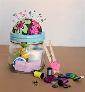 How To Make Handmade Gifts - diy sewing kit gift in a jar bless this mess
