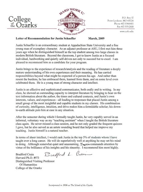 College Student Letter Of Recommendation recommendation letter for student cover