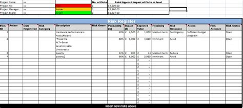project risk register template excel best template