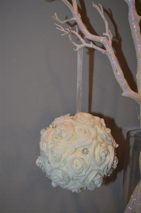 Real Touch Foam Rose Ivory Flower Ball With Bling Pearl Balls Centerpieces Wedding