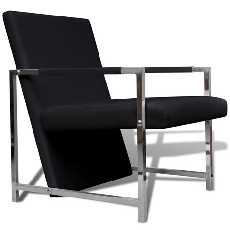 Cube Armchair by Artificial Leather Cube Relax Armchair Black With Chrome