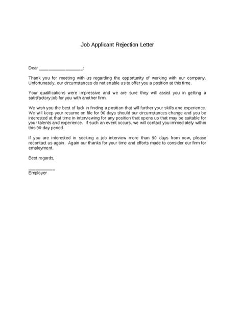 Letter Rejecting Applicant Exles Application Decline Template Employment Application