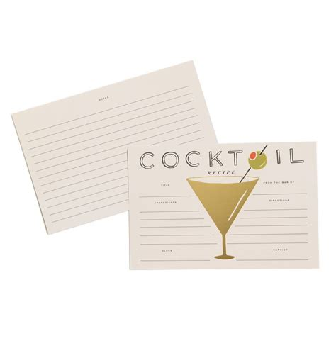 free drink recipe card template cocktail recipe cards by rifle paper co made in usa