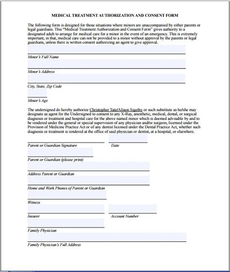 letter consent minor treatment sle consent form printable forms