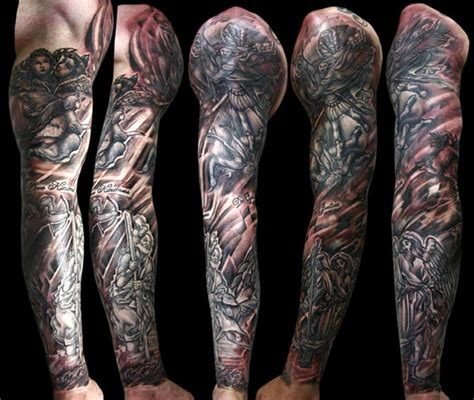 black and grey religious sleeve by marco ventura tattoonow