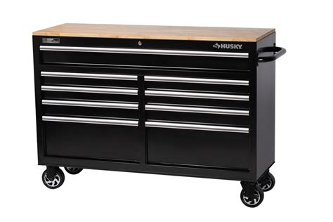 Husky 52 In 9 Drawer Mobile Workbench With Solid Wood Top by Husky 52 Quot 9 Drawer Mobile Workbench With Solid Wood Top