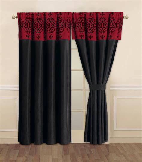 curtains red and black catherine black and red curtain set ebay