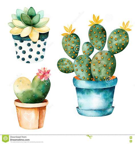 Cute Cactus Pots watercolor handpainted cactus plant and succulent plant in