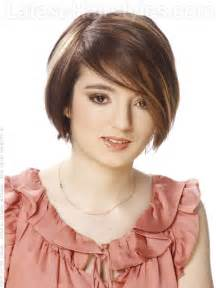 short brunette hairstyles front and back short brunette bob long bangs blonde highlights