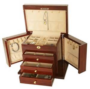 large mahogany jewelry chest fully locking