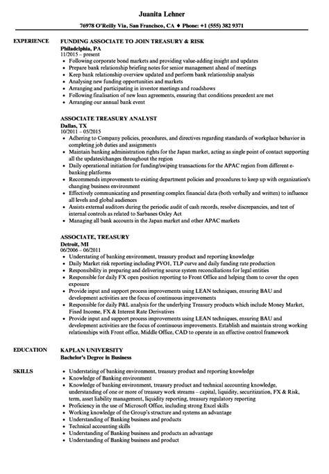 associate treasury resume sles velvet
