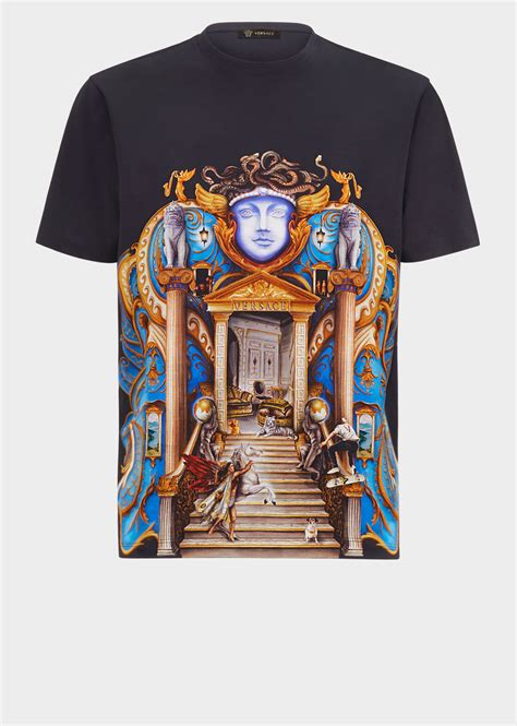 versace triptych print t shirt for us store