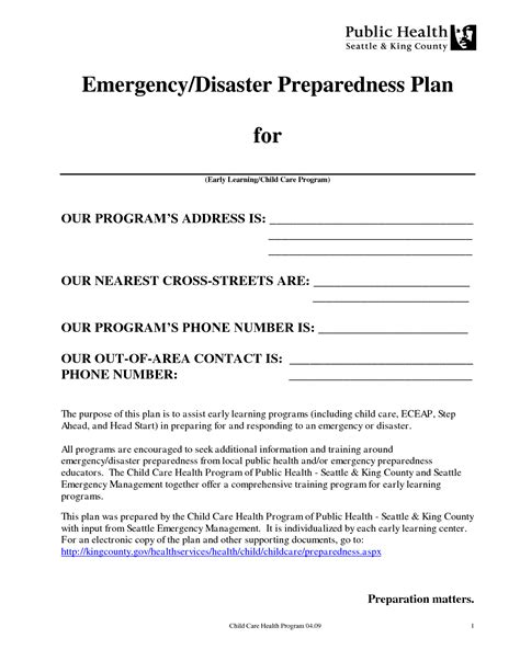 daycare emergency preparedness plan template best photos of disaster preparedness plan sle