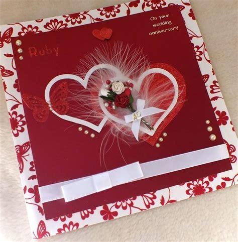 Wedding Anniversary Handmade Cards - luxury handmade ruby wedding anniversary card