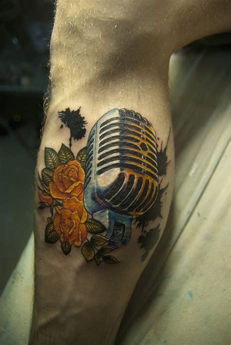 microphone flower tattoo old school microphone tattoo design by madeline cornish