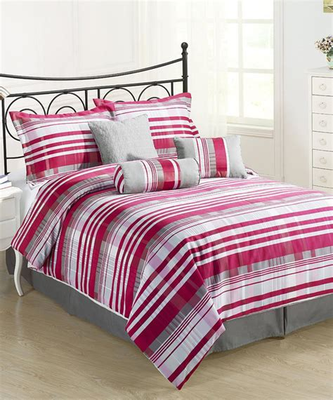 pink gray retro striped comforter set modern comforters