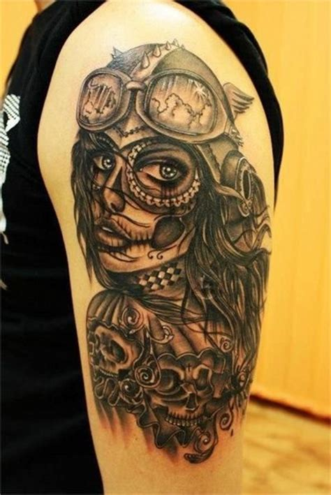 tattoo new school girl new school santa muerte girl tattoo on shoulder