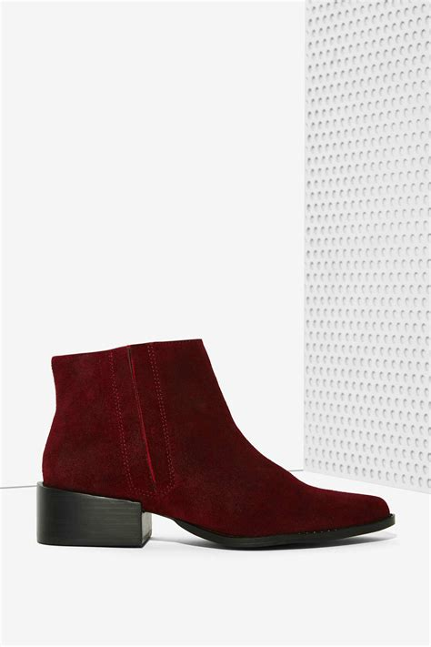 burgundy suede boots lyst grey city west suede ankle boot burgundy in