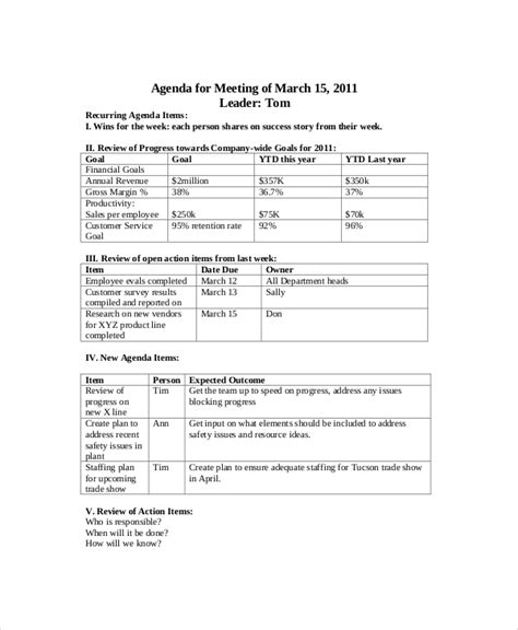 sales meeting agenda template 11 free word pdf