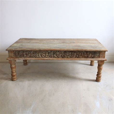 Carved Coffee Table Light Wooden Coffee Table Carved Inlays Kasakosa Home Decor